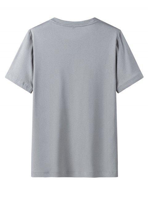 Camisa de Manga Curta de Impressão Gráfica com Colar Redondo - Nuvem Cinzento L Mobile