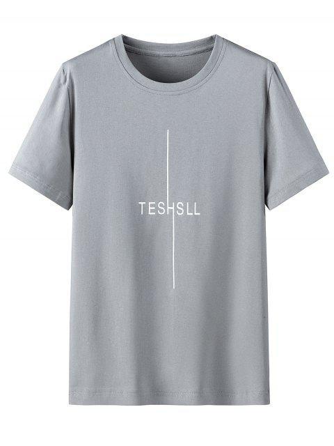 Camisa de Manga Curta de Impressão Gráfica com Colar Redondo - Nuvem Cinzento 3XL Mobile