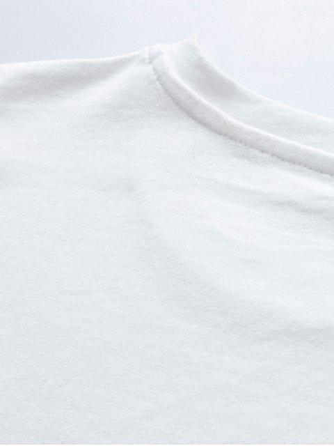 T-Shirt di Cotone con Scollo Rotondo e Stampa a Lettera - Bianca XL Mobile