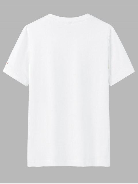 T-Shirt di Cotone con Scollo Rotondo e Stampa a Lettera - Bianca 3XL Mobile