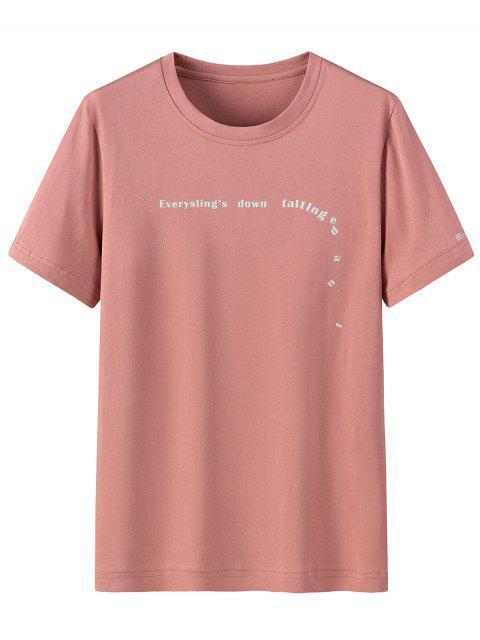 T-Shirt di Cotone con Scollo Rotondo e Stampa a Lettera - Rose 2XL Mobile