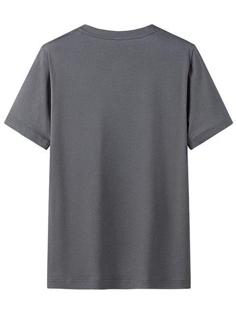 Camiseta Casual de Cuello Redondo con Patrón de Gráfico - Gris Carbón 2XL Mobile