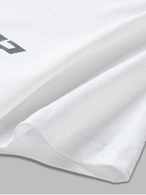 Camiseta Casual de Cuello Redondo con Patrón de Gráfico - Blanco M Mobile