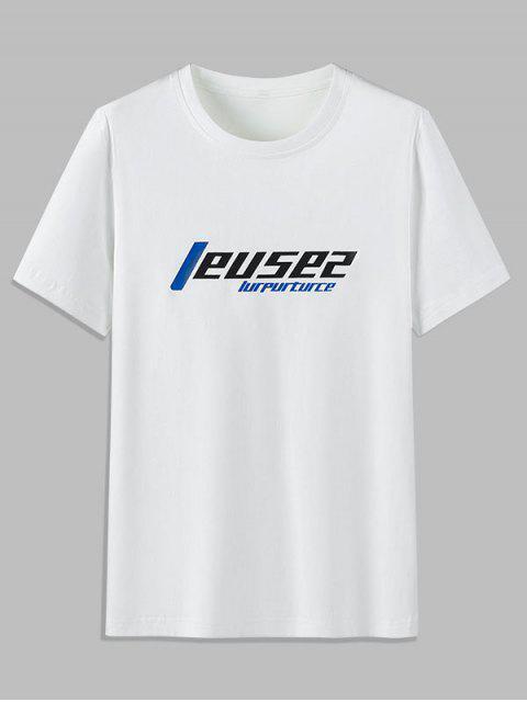 Camiseta Casual de Cuello Redondo con Patrón de Gráfico - Blanco L Mobile