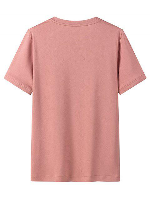 Camiseta Casual de Cuello Redondo con Patrón de Gráfico - Rosa Rosada M Mobile