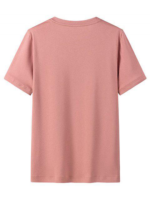 Camiseta Casual de Cuello Redondo con Patrón de Gráfico - Rosa Rosada XL Mobile