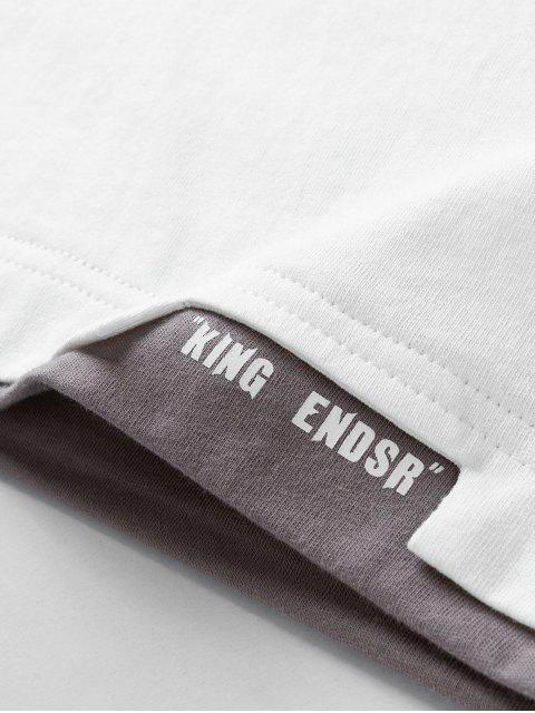 Buchstabedruck Kurzarm Baumwolle T-Shirt - Weiß 2XL Mobile