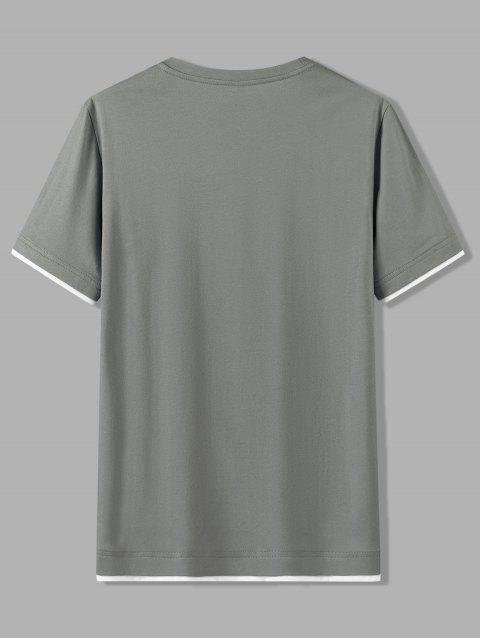 T-shirt Motif de Lettre à Manches Courtes en Coton - Gris Foncé 3XL Mobile