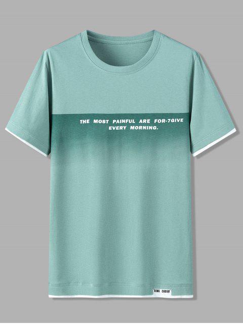 Camisola de Algodão com Padrão Mangas Curtas e Letras - Luz verde 4XL Mobile