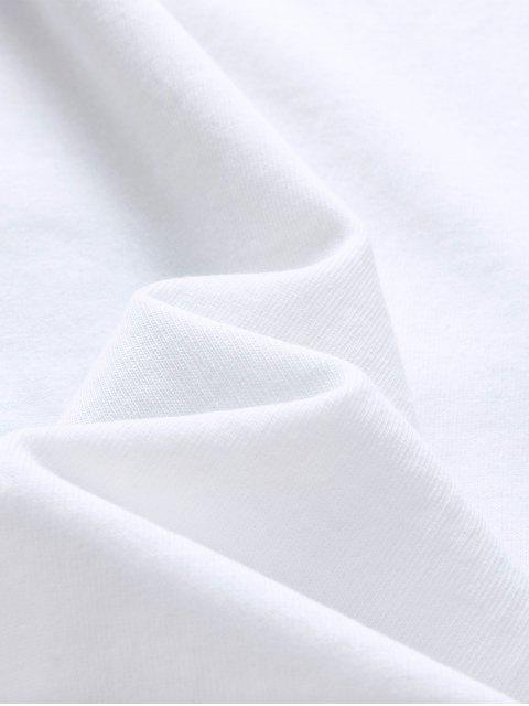 Camiseta de Algodón y Casual con Estampado de Letras - Blanco L Mobile