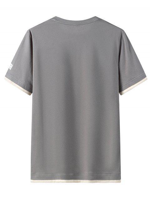 T-shirt Décontracté Lettre Graphique Imprimée en Coton - Gris Foncé 2XL Mobile