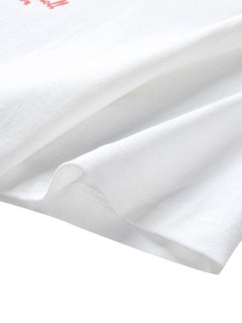 Grafisches T-Shirt mit Buchstaben und Grafikdruck - Weiß 3XL Mobile
