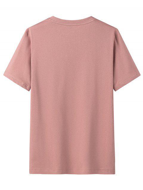 Camisa de Manga Curta de Impressão Gráfica com Colar Redondo - Rosa 3XL Mobile