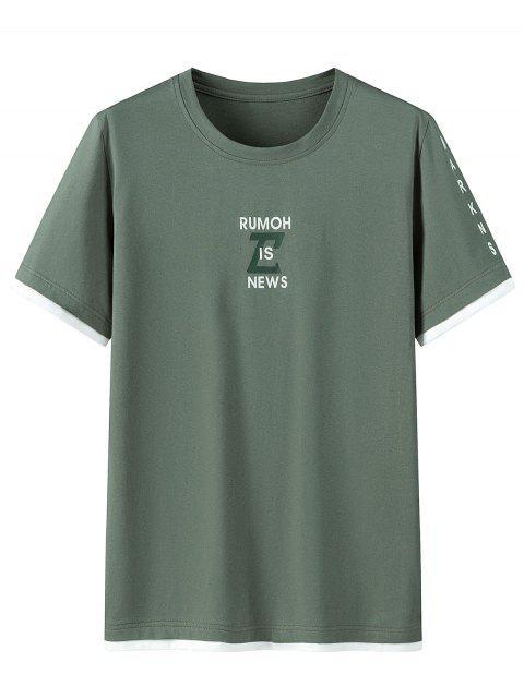 Grafisches Muster Kurzes T-Shirt aus Baumwolle - Rehbraunes Grün 2XL Mobile