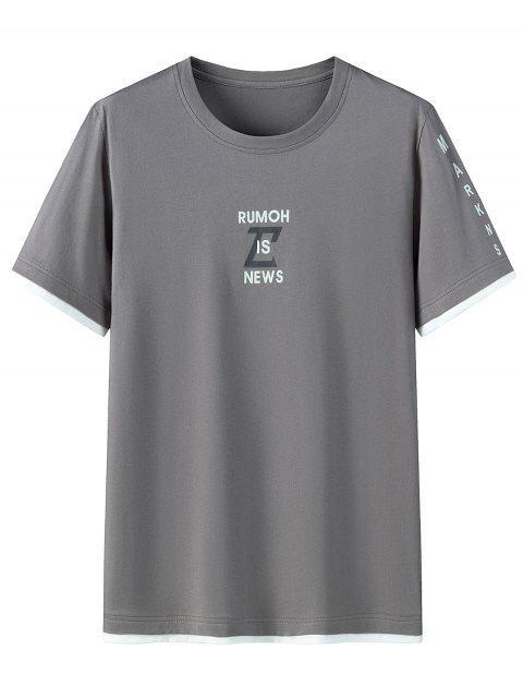 T-shirt Motif Graphique en Coton à Manches Courtes - Gris Foncé 2XL Mobile