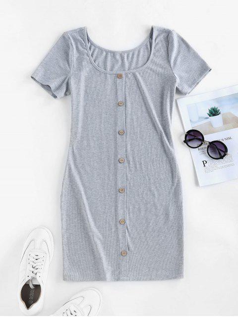 shops ZAFUL Ribbed Knit Mini Bodycon Dress - GRAY CLOUD M Mobile