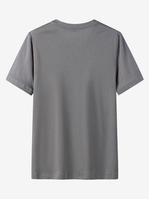Maglietta Casual con Stampa Grafica e Tasca - Grigio Scuro 3XL Mobile