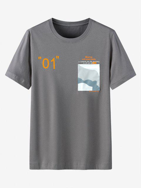 Graphic Printed Pocket Short Sleeves T-shirt - الرمادي الداكن 3XL Mobile