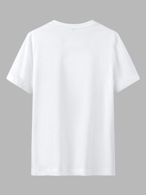 Maglietta Casual con Stampa Grafica e Tasca - Bianca 2XL Mobile
