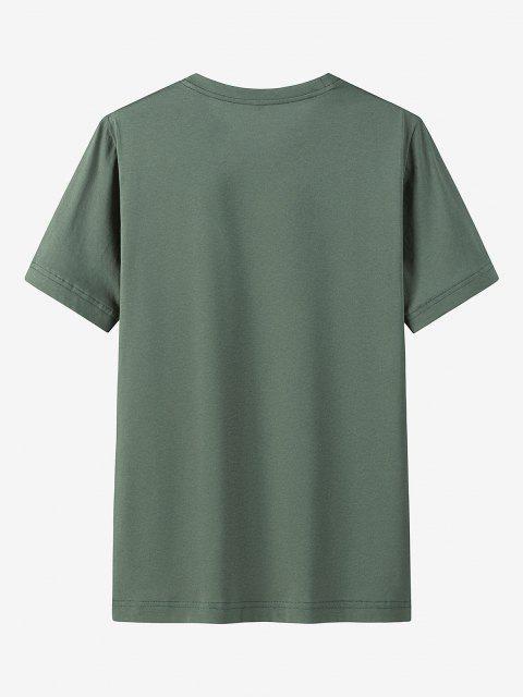Maglietta Casual con Stampa Grafica e Tasca - Verde Bruno Chiaro L Mobile