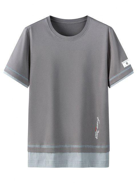 Camisa de Algodão curto e mangas curtas com impresso de letras - Cinzento Escuro 3XL Mobile
