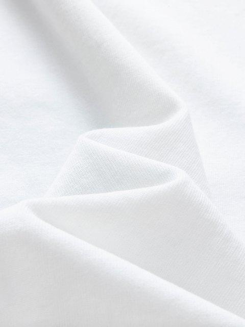 Camiseta de Cuello Redondo con Pintura Gráfico con Mangas Cortas - Blanco 2XL Mobile
