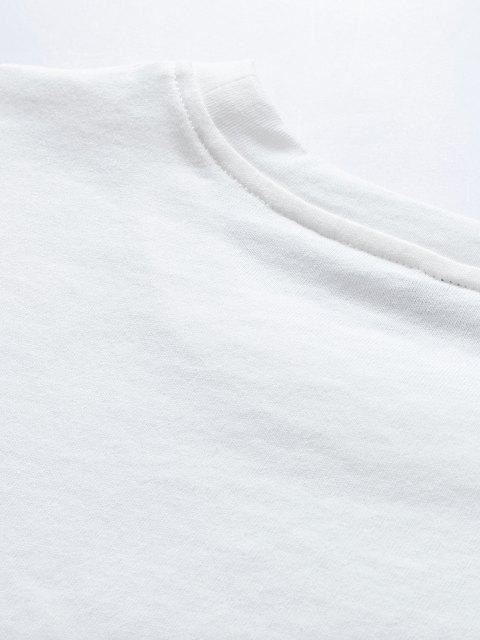 Maglietta Casuale con Stampa Mimetica con Motivo Lettere - Bianca 2XL Mobile