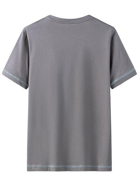 T-Shirt Décontracté Motif Camouflage etLettre - Gris Foncé 4XL Mobile