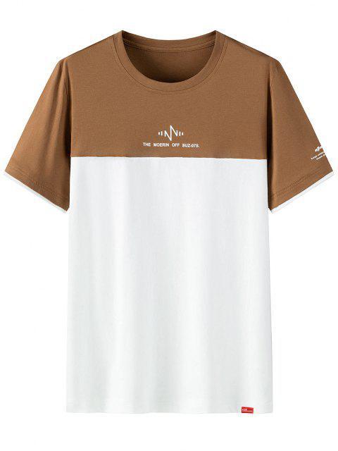 T-shirt Lettre ImpriméBicoloreà Manches Courtes - café 4XL Mobile
