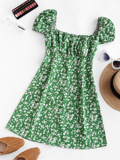 affordable Ditsy Print Puff Sleeve Milkmaid Dress - GREEN M Mobile