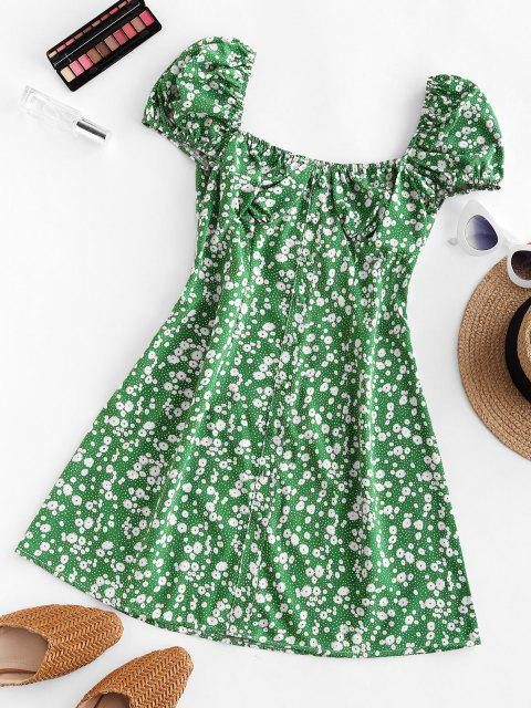 lady Ditsy Print Puff Sleeve Milkmaid Dress - GREEN S Mobile