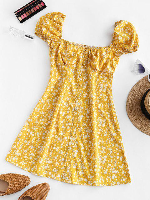 unique Ditsy Print Puff Sleeve Milkmaid Dress - YELLOW M Mobile