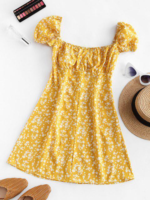 fashion Ditsy Print Puff Sleeve Milkmaid Dress - YELLOW S Mobile