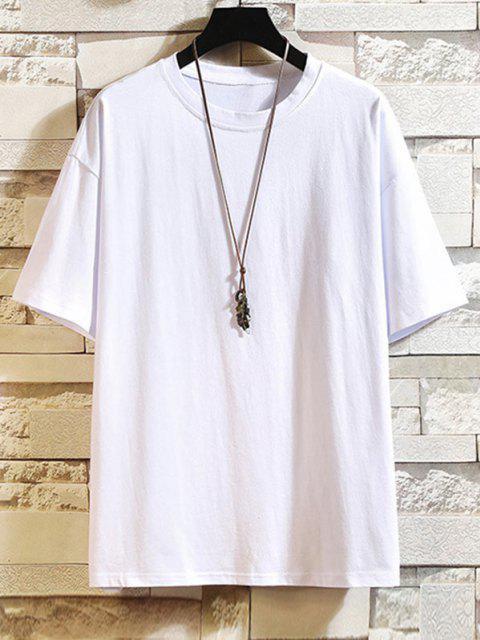 Buchstabe Grafik Kurzarm Basik T-Shirt - Weiß XL Mobile