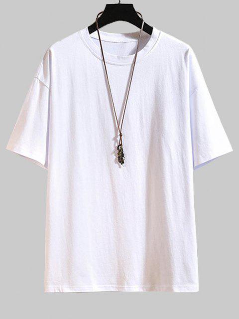 Camiseta Básica con Manga Corta y Letras - Blanco L Mobile