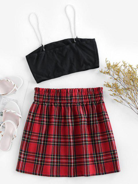 outfits ZAFUL Plaid Faux Pearl Straps Belted Skirt Set - MULTI XL Mobile