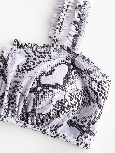 ZAFUL Maillot de Bain Bikini Peau de Serpent à Armature en V à Ourlet en Laitue - Blanc M Mobile