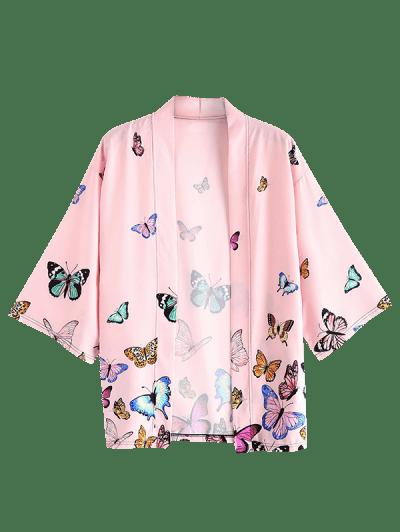 Colored Butterfly Allover Print Kimono Cardigan