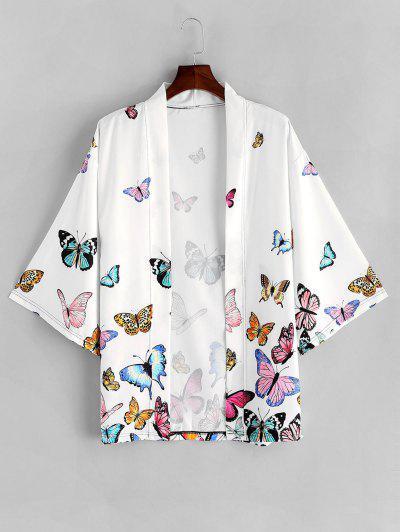Colored Butterfly Allover Print Kimono Cardigan - White M