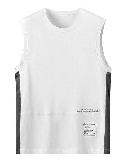 Letter Print Color Spliced Tank Top - White 2xl