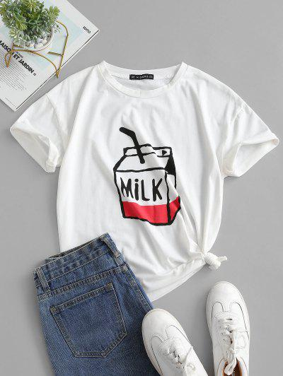 Milk Graphic Short Sleeve T-shirt - White M