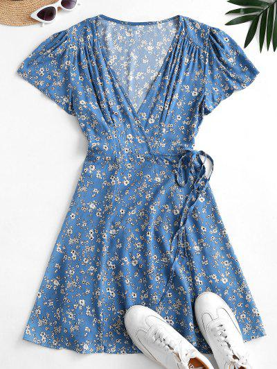 Flutter Sleeve Ditsy Floral Wrap Dress - Blue Koi L