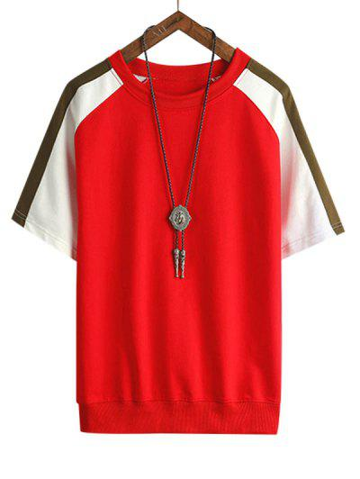 Colorblock Panel Raglan Sleeve T Shirt - Lava Red 3xl