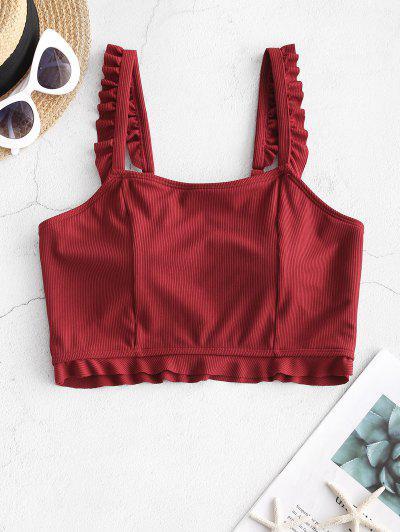 ZAFUL Frilled Ribbed Bikini Top - Red Wine L