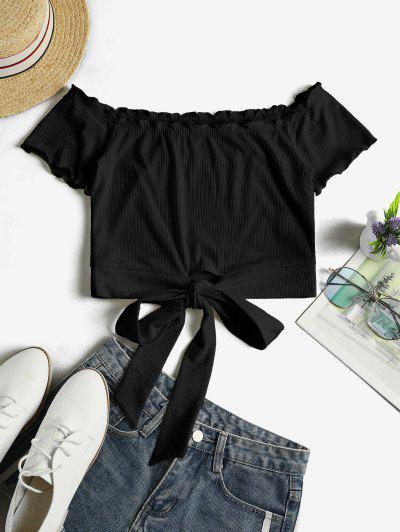 ZAFUL Off Shoulder Ribbed Knotted Frilled Crop Tee - Black S