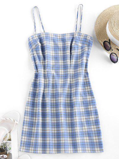ZAFUL Plaid Cami Backless Mini Dress - Light Blue L