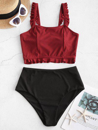 ZAFUL Ribbed Frilled Tankini Swimwear - Red Wine L