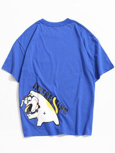 Short Sleeves Cartoon Dog Pattern T-shirt - Blue S