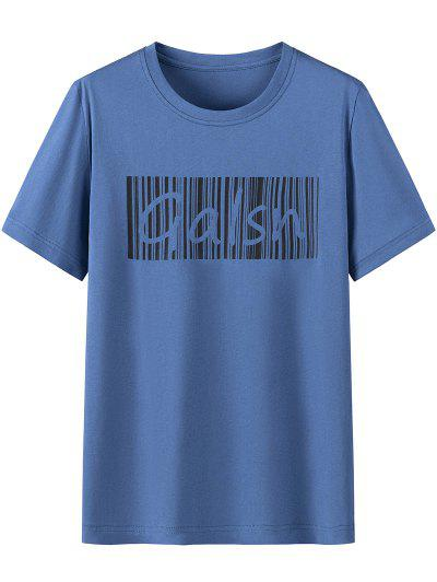 Letter Print Cotton Short Sleeves T-shirt - Blue Ivy 3xl