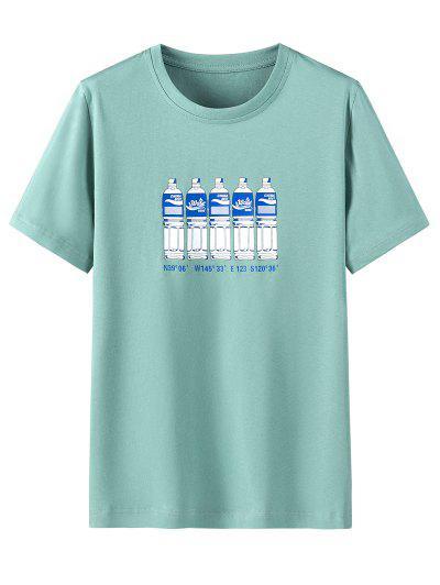 Bottle Letter Print Short Sleeves T-shirt - Macaw Blue Green 3xl